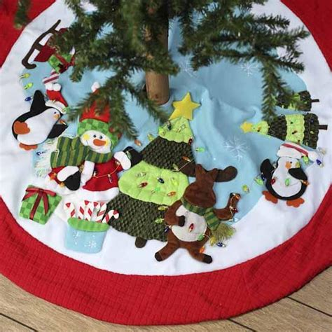 whimsical appliqued christmas tree skirt christmas trees