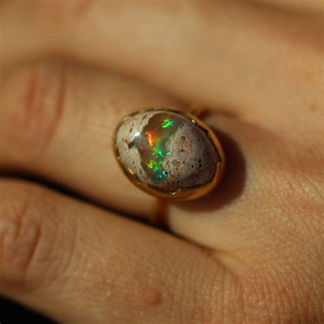 matrix opal ring annette ferdinandsen mexican matrix opal gold egg ring