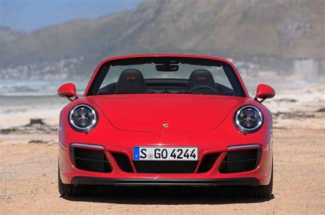 porsche 911 front 2017 porsche 911 4 gts cabrio front view motor trend