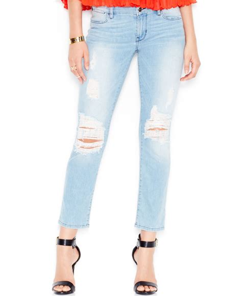 Via Guess Ripped Jacket Light Bahan guess ripped mid rise pencil in blue berry bliss lyst