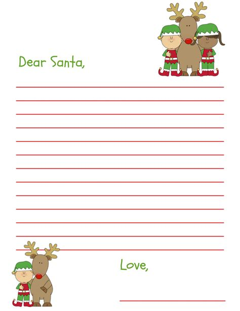 dear santa letter printable kids grandkids