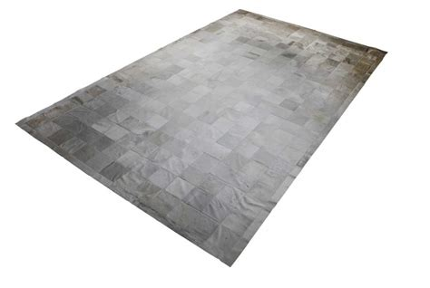 White Cowhide Patchwork Rug - white patchwork cowhide rug squares classic design shine