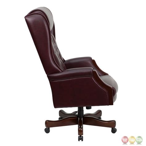 high back tufted office chair high back traditional tufted burgundy leather executive