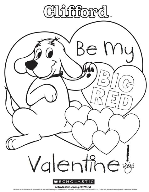 clifford s my big red valentine coloring sheet parents