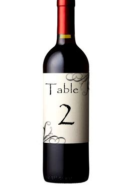 Wine Label Table Number Template
