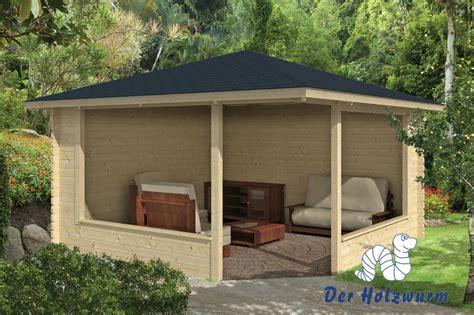 pavillon holz gartenhaus marit blockhaus 400x400 cm holzhaus 45mm