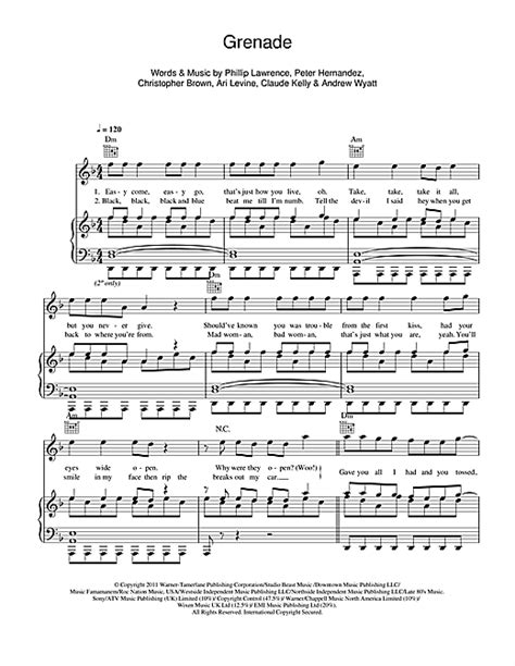 tutorial piano grenade grenade sheet music by bruno mars piano vocal guitar