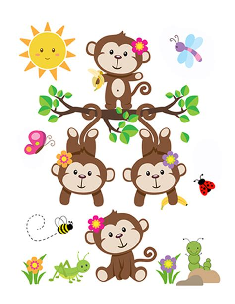 monkey wall murals monkey nursery decal baby wall mural stickers