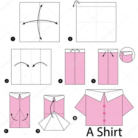 Paper Shirt Origami - step by step how to make origami shirt