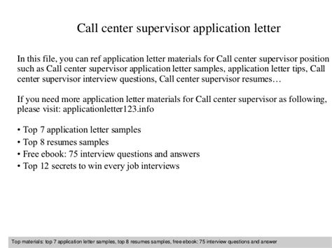 Closing Letter Called Call Center Supervisor Application Letter