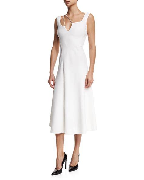 Midi Dress Dress Midi Hitam Beckham Midi Dress Black White beckham sleeveless shoulder string cady midi dress in white lyst