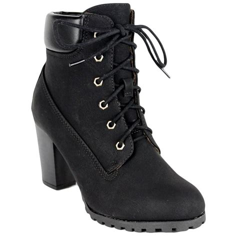 black rugged boots womens ankle boots rugged lace up high heel shoes black pricefalls marketplace