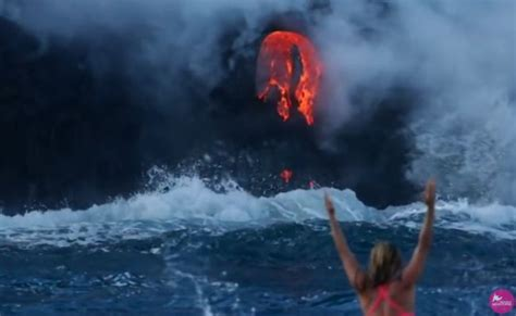 Can Lava Ls Explode by She Surfed Next To Erupting Volcano In Hawaii The Pics