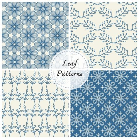 pattern collection download leaves patterns collection vector free download
