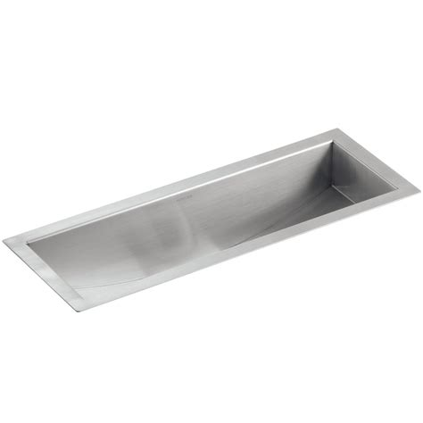 Trough Sink Kitchen Kohler Icerock Trough Mount Stainless Steel Kitchen Sink 3179 Na