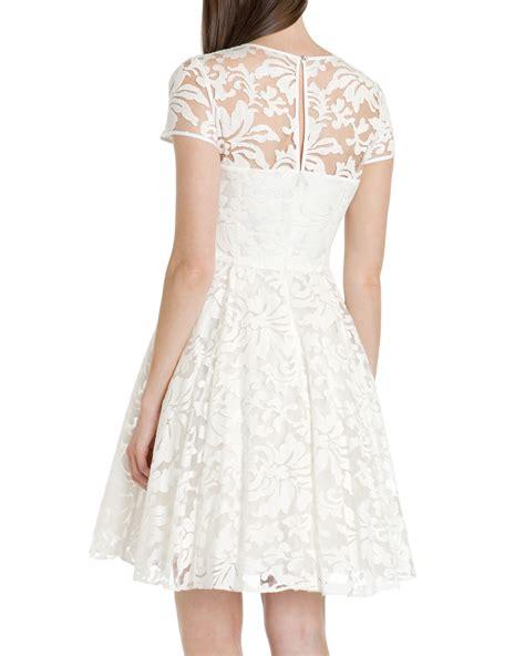 sheer patterned white dresses ted baker caree sheer floral dress in white lyst