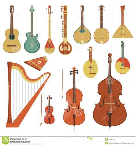 String History - stringed musical instruments stock vector illustration