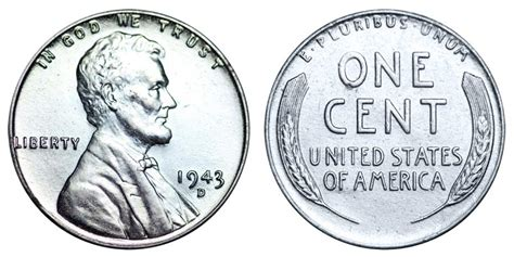 1943 d lincoln wheat cent steel cent steel composite penny value and prices