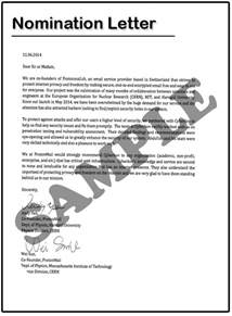how to write a nomination letter for an award sle
