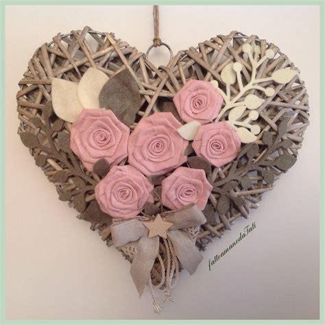 di vimini grande cuore di vimini con di lino rosa per la casa