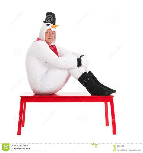 human bench human snowman sitting on bench stock photography image 35364252