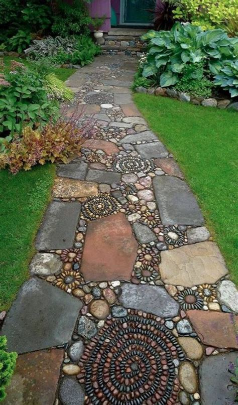 rock pathway ideas how to make a pebble mosaic gardens beautiful and walkways