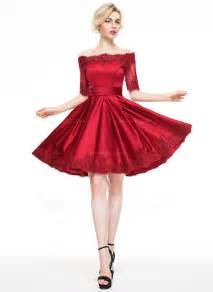 a line princess off the shoulder knee length satin