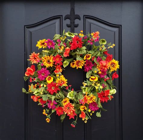 Spring Summer Door Decor Spring Wreath For Front By Summer Front Door Decor