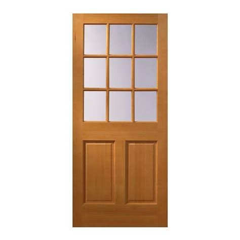 Slab Exterior Doors Masonite 32 In X 80 In 15 Lite Unfinished Fir Front Door