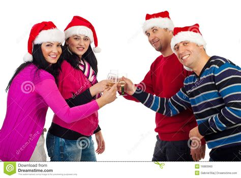 christmas friends toasting with chagne stock photo