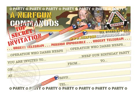 1 Your Free Downloadable Birthday Party Invitation Nerf Gun Birthday Invitation Template