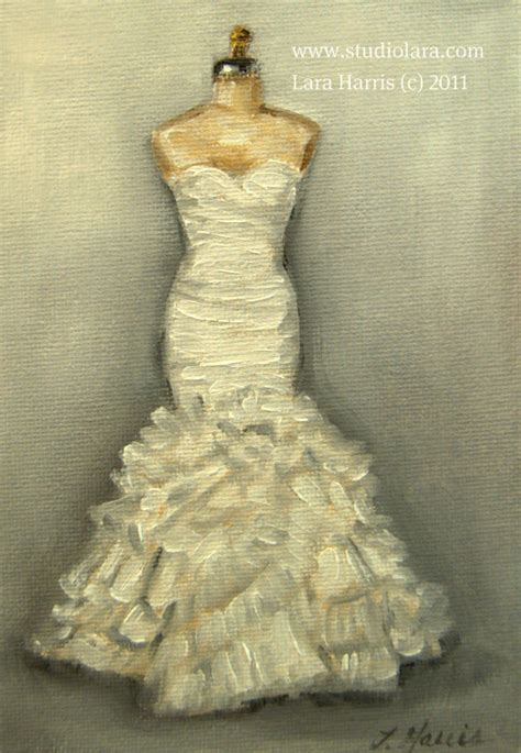 a vintage touch custom wedding dress paintings in oil by