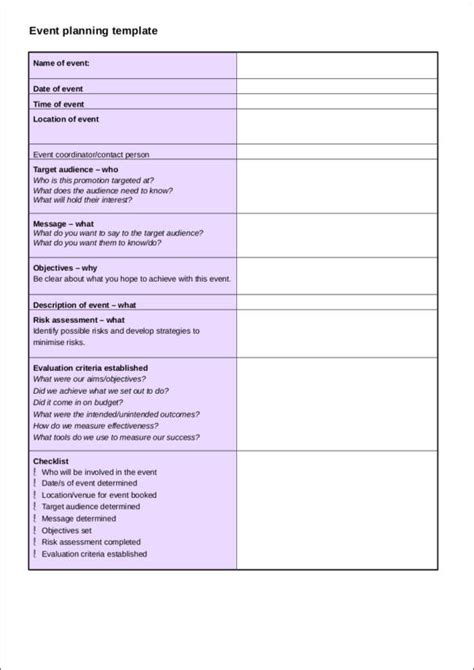event planning checklist ideas samples templates   word