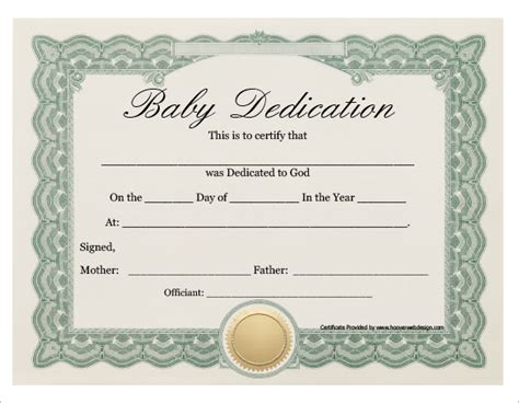 dedication certificate template baby dedication certificate template 21 free word pdf