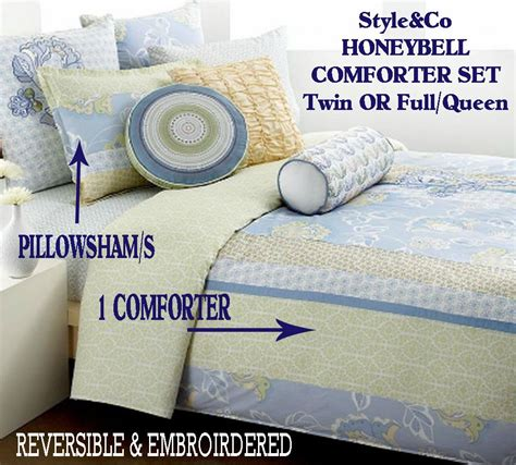 define comforter style co honeybell twin or queen comforter sham set