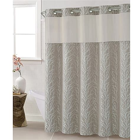 Tree Shower Curtain Bed Bath And Beyond hookless jacquard tree branch shower curtain in taupe