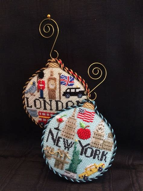 travel ornaments canvases by kirk bradley needlepoint