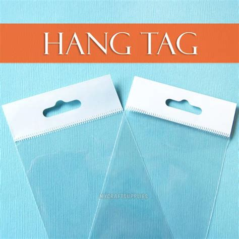 Dijamin Clear St Hanging Tags many sizes cello bags hang tab tops self adhesive resealable my craft supplies