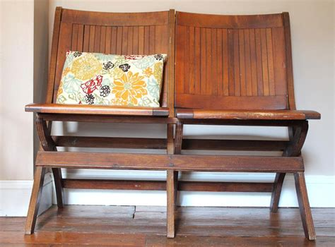 wooden folding benches vintage wood slat folding theater bench