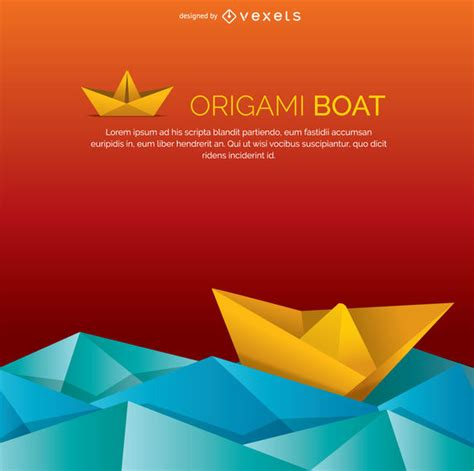 origami boat on water origami boat and water vector download