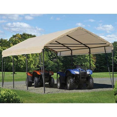 Shelter Logic Carport shelterlogic carport in a box 12 x 20 x 9 canopy in sandstone 62635