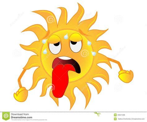 sun l for sad sad sun is exhausted from a heat stock vector image