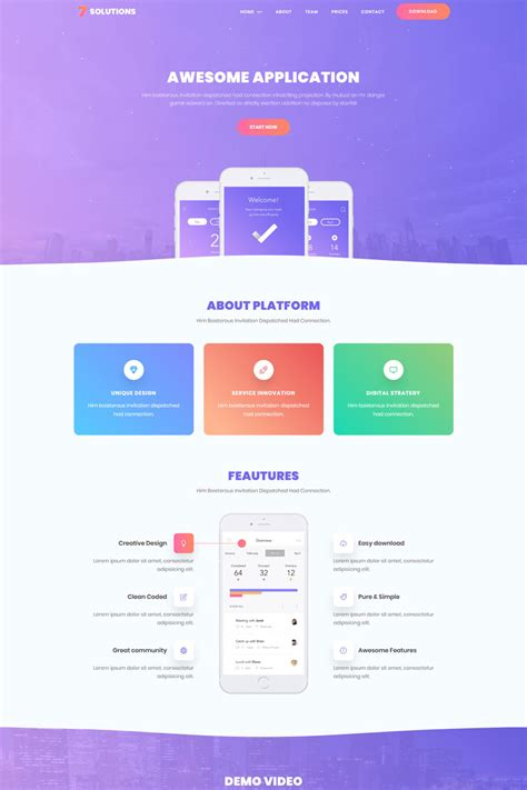 7 Solutions Creative Mobile App Landing Page Template 69535 Mobile App Landing Page Template