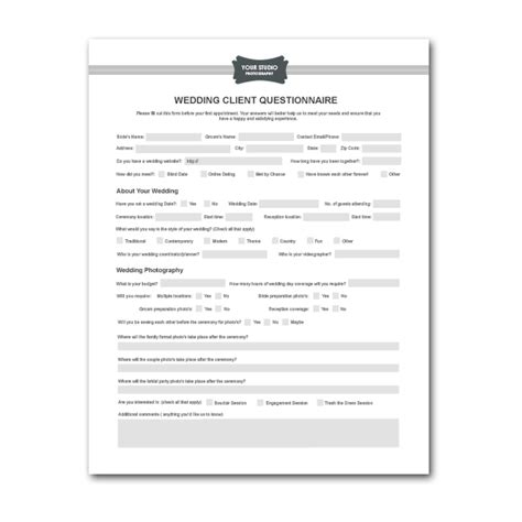 Free Printable Wedding Photography Contract Template Form Generic Bridal Guide Template For Photographers