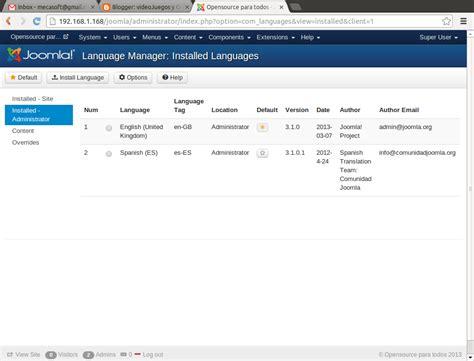 tutorial joomla spanish como instalar idioma espa 241 ol en joomla 3 1 1 videojuegos