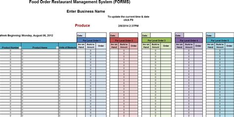 exle layout of a restaurant free food inventory spreadsheet excel restaurant food cost