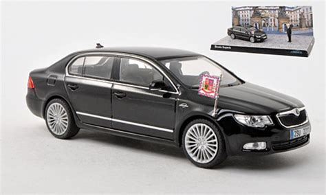 skoda superb ii l k black abrex diecast model car 1 43