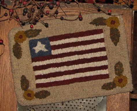 punch hook rug kits primitive punch needle pattern prims series quot flag quot ebay