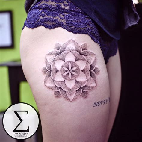 hip tattoos designs dotwork mandala hip