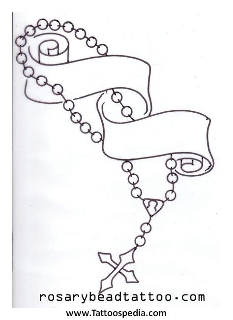cross with rosary beads drawing